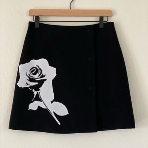 MSGM printed rose wool mini skirt new authentic